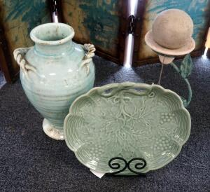 "15"" Stoneware Vase With Crackle Finish, 14"" Serving Platter With Stand, And Jaru Art"
