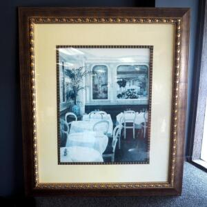 "Framed Matted Under Glass Dining Print Signed By Artist XX.R Enoux, 45"" x 39"""