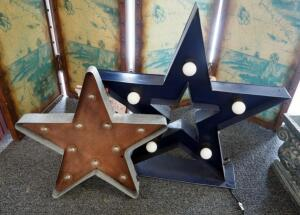 "Lighted Metal Stars, Battery Operated Measures 19"" x 18"" And Electric Measures 25"" x 24"", Qty 2"