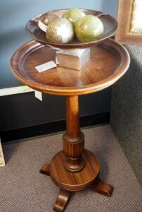 "Solid Wood Pedestal Table With Decorative Bowl And Spheres, Table Measures 29"" x 18"" Round"