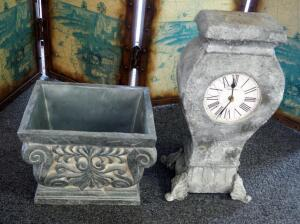 Ronita Smith Battery Operated Faux Stone Clock And Planter