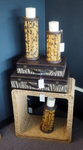 "Woven Rattan Cube 21.5"" x 21.5"", Zebra Print Luggage, And Bamboo Candle Holder Set, Qty 6 Pieces"