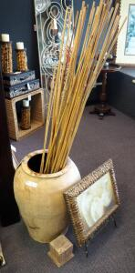 "24"" Large Pottery Vase With Bamboo Sticks, Framed Pottery Print, And Metal Framed Stand"