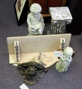 Angel And Cherub Themed Statues, Wall Shelves, And Column, Qty 5 Pieces