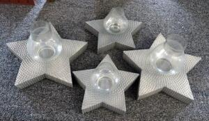 Hammered Tin Star Candle Votives, 2 Large And 2 Small, Total Qty 4
