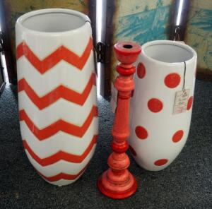"16"" Melon Polka Dot Vase, 20"" Chevron Melon Chevron Vase, 18"" 2-Tone Turned Wood Candlestick"