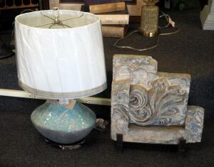 "Uttermost Lighting 26"" Floral Cermaic Base Lamp With Cloth Shade, And Architectural Stone With Metal Stand"