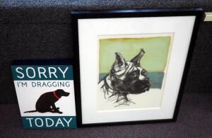 "Framed Matted Under Glass ""Brooklyn"" Dog Art Work, 23.5"" x 19.5"", And ""Sorry I'm Dragging Today"" Plaque 14"" x 10"""