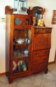 "Antique Solid Wood 4-Drawer Secretary Cabinet With Carved Front & Beveled Glass Tilt Mirror, 67"" x 44"" x 14"", With Key, Contents Not Included, 2nd Day Loadout Only"