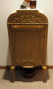 "Solid Wood Antique Record Cabinet With Cabriolet Legs, 41.25"" x 19"" x 13.5"", Contents Not Included"