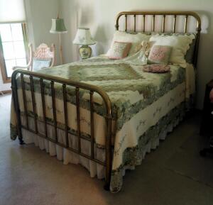 "Antique Full Size Brass Bed Includes Head Board, Foot Board, Tempurpedic Mattress, Box Spring, Bedding, Headboard: 58"" x 54"" & Foot-board: 37"" x 54"""