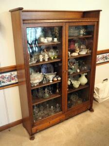 "Antique Solid Wood Glass Panel Door Curio Cabinet With Claw Feet & 2 Storage Drawers, 60.5"" x 44.5"" x 13"", Contents Not Included, SECOND DAY LOAD OUT"