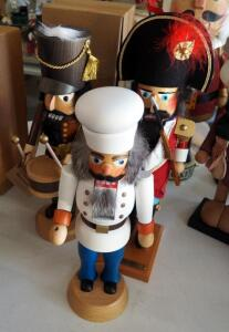 "Christian Ulbricht 17"" Drummer Nutcracker, Steinbach 18"" Soldier Nutcracker, And Stracoland Colmnitz 15"" Chef Nutcracker"