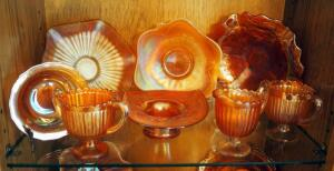 "7"" Fenton Opalescent Marigold Bowl, 8"" Ruffled Bowls, Sugar And Creamer, Qty 8 Pieces, Contents Of Shelf"