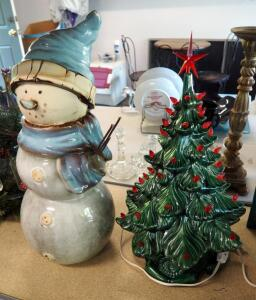 "19"" Ceramic Lighted Christmas Tree And 20"" Ceramic Snowman"