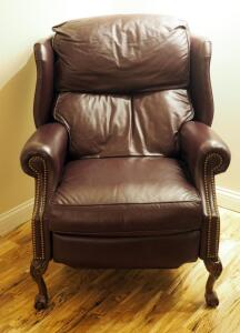 "Thomasville Leather Wing-back Recliner With Ball And Claw Feet, 43"" X 32.5"" X 40"""