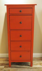 "Solid Wood 5 Drawer Chest Of Drawers, 51.25"" X 22.25"" X 15.25"