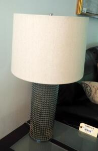 "28"" Glass Cylindrical Table Lamps With Drum Shades, Qty 2"