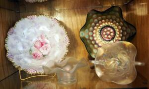 "Opalescent Art Glass Bowls, 10"" Hand Painted R.S. Prussia Bowl, And More, Qty 4 Pieces, Contents Of Shelf"