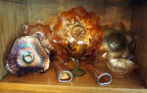 "Carnival Art Glass Collection Including Matching 8"" Wall Vases, Stemmed Candy Dish, Ruffled Bowls, And More, Qty 8 Pieces, Contents Of Shelf"