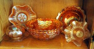 "9"" Fenton Bowl With Grapevine Pattern, Ruffled 8"" Marigold Bowl, Candy Dishes, And More, Qty 6 Pieces"
