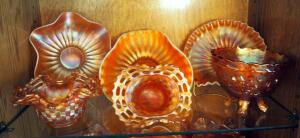 Fenton Art Glass Ruffled Baskets, Footed Bowl, And More, Qty 6 Pieces, Contents Of Shelf