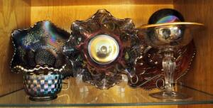 "Fenton Art Glass Ruffled Bowls, 10"" Plate, 5"" Fenton Basket, And More, Qty 6 Pieces, Contents Of Shelf"