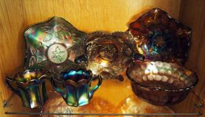 Carnival Glass Ruffled Bowl Collection With Creamer And Sugar, Qty 6 Pieces, Contents Of Shelf