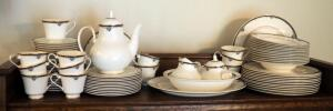 "Royal Doulton English Fine Bone China, Princeton Pattern, 12 Place Setting Including 13.5"" Platter, 11"" Serving Bowl, Creamer, Sugar, And Pitcher"