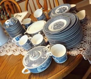 "Currier And Ives ""Early Winter"" 62-Piece China Set Including Dinner Plates, Covered Serving Bowls, Bread Plates, Tea Cups, Bowls, Sugar, Creamer,..."