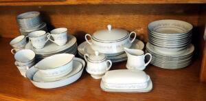 "Noritake ""Marywood"" 8-Place China Setting Including Plates, Saucers, Bowls, Cups, Creamer, Sugar, Gravy Boat, Tureen, Platters, And Butter Dish"