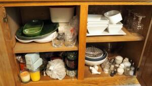 Cut Glass Stemware, Serving Bowls, Serving Trays, Salt And Pepper Shakers, Candles, And More, Contents Of 2 Cabinets