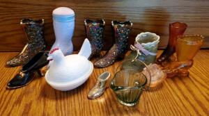 Glass Boots, Shoes, Hen On Nest, Cow On Nest, And Glass Basket, Qty 12 Pieces