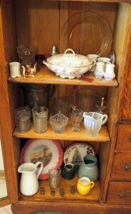 Cut Glass Pitcher Collection, Painted China Plates, And More, Contents Of 3 Shelves
