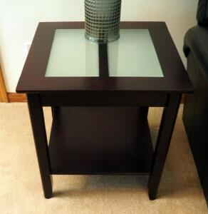 "Contemporary Solid Wood End Tables With Frosted Glass Tops, Qty 2, 24"" x 22.5"" x 22.5"" And One With Drawer 24"" x 16.25"" x 22.5"", Contents Not Included"