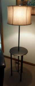 "57"" Metal Floor Lamp Table, 14"" Round"
