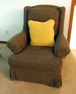 "Thomasville Upholstered Armchair With Throw Pillow, 40"" x 37"" x 36"""