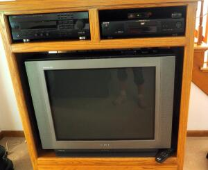"Sony 32"" Trinitron XBR Television And Sony DVD/CD Player Model DVP-S330, With Remotes"