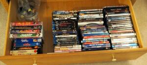 DVD And VHS Collection Including Children's Movies, Suspense, Drama, And Action, Qty 75 Plus Movies