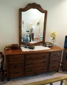 "Ethan Allen 9-Drawer Dresser With Beveled Glass Mirror, 84"" x 68"" x 20"", Contents Not Included, Matches Lot 87 And 156"