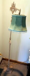 "Antique Cast Iron 61"" Floor Lamp With Cloth Shade"