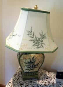 "Decorative 26"" Mosaic Tile Table Lamp With Printed Cloth Tapered Bell Shade"