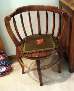 "Antique Solid Wood Round Barrel Chair, 30"" x 18"" Round, Included Embroidered Cushion"