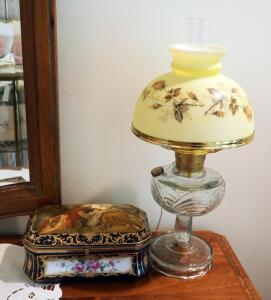 "22"" Glass Hurricane Lamp With Painted Porcelain Shade And R.S. Hand Painted Prussian Porcelain Vanity Box"