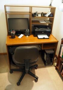 "Computer Desk With Top Storage, 50"" x 39.5"" x 23"", Contents Not Included, Rolling Office Chair, Floor Protector, & Desk Lamp, SECOND DAY LOAD OUT ONLY"