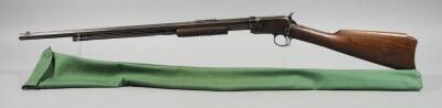 Winchester Model 90 .22 Short Pump Action Rifle SN# 848628, Octagonal Barrel, RDC Carved In Butt, No Butt Plate, Crack In Stock, In Gun Sleeve