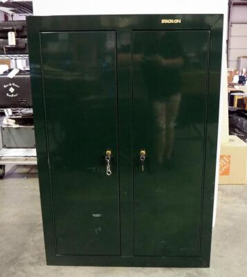 "Stack-On 2 Door Steel Gun Locking Firearm Cabinet Model GCDG-9216 With Keys, Includes 2 Interior Shelves Both Mounted To Left Side, 55""H x 38""W x 18""D, Due To Size And Weight, Local Pickup Is Recommended"