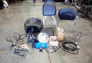 Assorted Motorcycle Parts And Pieces, Includes Seat, Backrest, Mirrors, Lamp And More