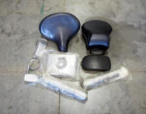 Assorted Motorcycle Parts, Includes Seat, Lamp Cover, Mirror, And More