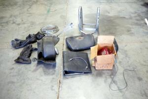 Motorcycle Parts, Includes Seats, Wheel Chock, Passenger Back Rests, Leather Pouch, Lamp And More